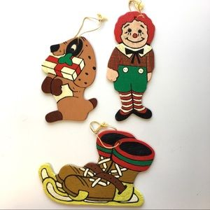"Hand Painted Wood Christmas Ornaments ""Skates"" Lot"